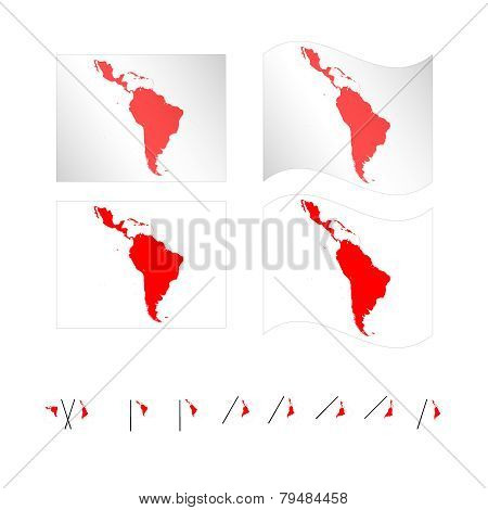 Flags With Latin American Map Eps 10