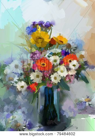 Oil painting Vase With Still Life A Bouquet Of Flowers