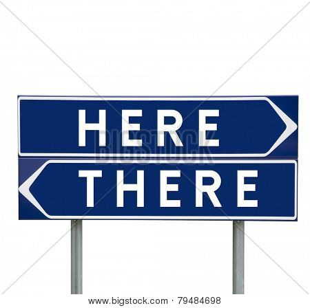 Here or There choise on Road Signs isolated