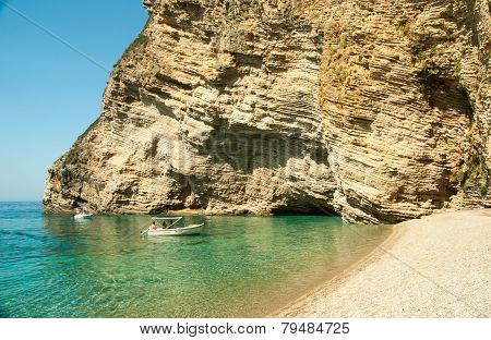 Tourist Boats At Paradise Beach Near Liapades, Western Of Corfu Island, Greece