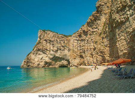 Paradise Beach Near Liapades, Western Of Corfu Island, Greece
