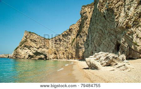 Paradise Beach Near Liapades, Western Of Corfu Island, Greece