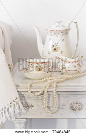 Bedside table set with morning tea