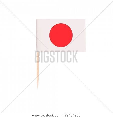 Toothpick Flag Japan. Paper Japanese flag . Isolated on white background
