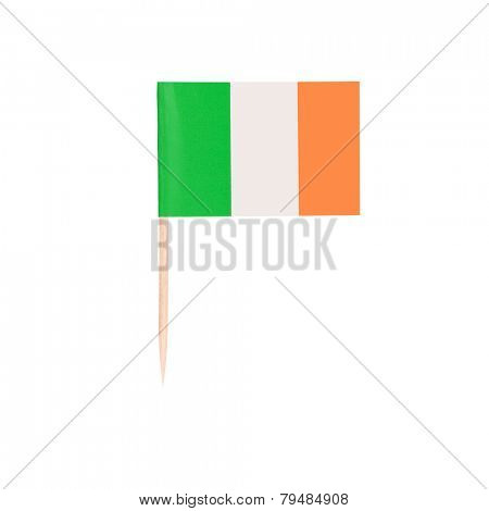 Toothpick Flag Ireland. Paper Irish flag . Isolated on white background