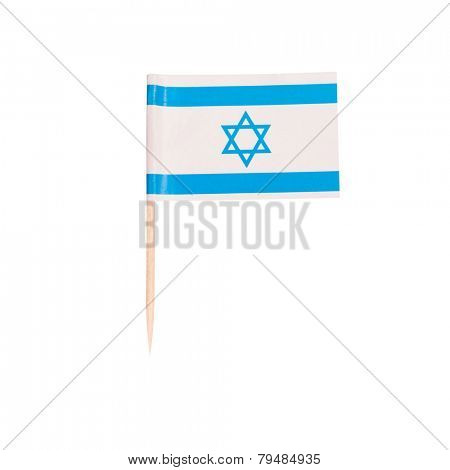 Toothpick Flag Israel. Paper Israeli flag . Isolated on white background