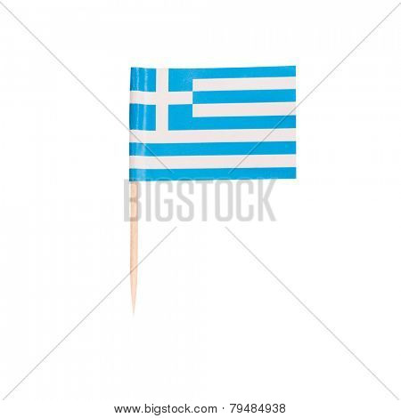 Toothpick Flag Greece. Paper Greek flag . Isolated on white background