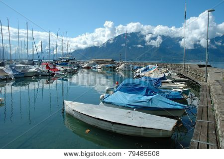 Boats In Marina In La Tour-de-peliz In Switzerland