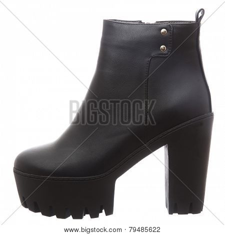 Female boot with high heel isolated on white background