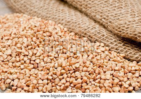Scattering Of Buckwheat And Old Bag