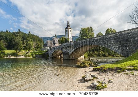 Bohinj lake with church and bridge, Slovenia