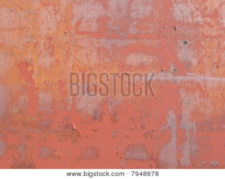 Orange Pink Blathering Scratched Painted Wood