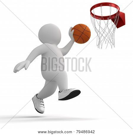 3d human basketball player trying to score