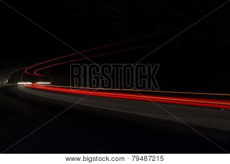 Car Light Trails In The Tunnel.  Art Image . Long Exposure Photo Taken In A Tunnel Below Veliko Tarn