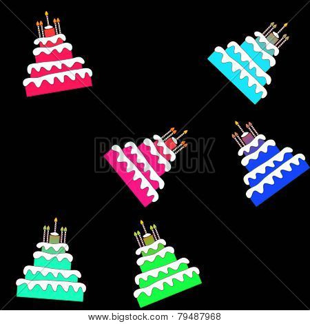 Seamless pattern of funny colorful birthday cakes