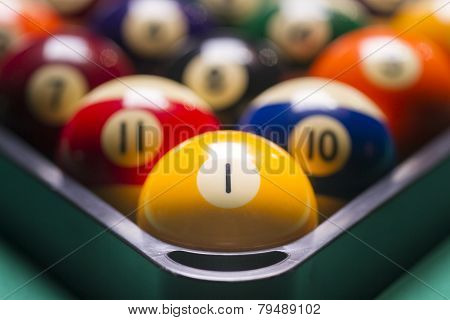 Billiard Balls Arranged In A Triangle; Macro;focus On The Yellow Ball