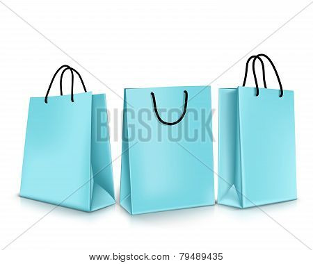 Set of Empty Shopping Bags Isolated. Vector Illustration