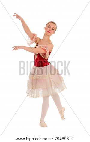 Elegant Teen Ballet Student In Red Spanish Costume