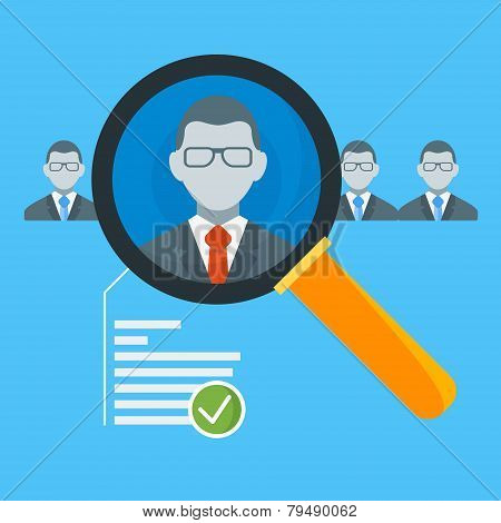 Hiring Process Concept With Candidate Selection. Vector Illustration In Flat Design Style