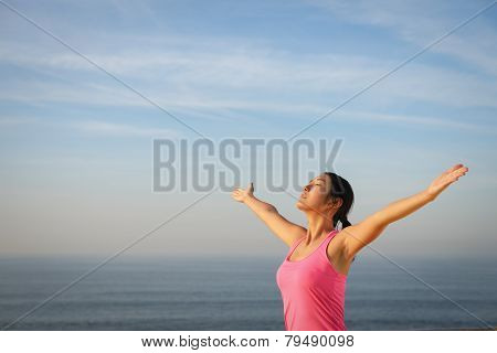 Serene Woman Relaxing And Enjoying Freedom