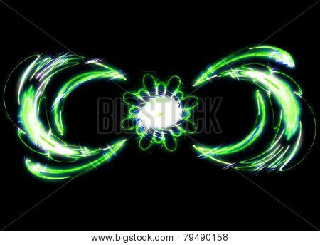 Abstract the mysterious green flower swirls in dark space. Fractal art graphics