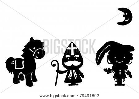 Silhouette Sinterklaas and zwarte piet ( black pete)  . typical Dutch character part of a traditional event celebrating the birthday of Sinterklaas (Santa Claus) .Isolated on white