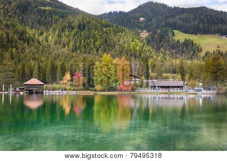 Autumn At Lago Di Dobbiaco (toblacher See), Dolomites, Alps, Italy