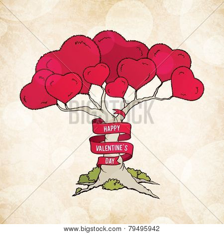 Valentine's day card with love tree