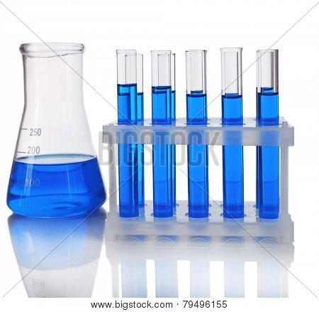 Test-tubes in container and flask with blue fluid on light background