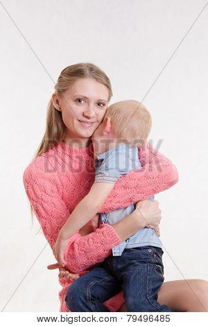 Joyful Mother Calms Her Son
