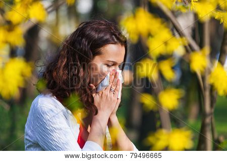 Woman With Spring Flu