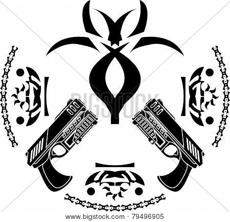 abstract symbol and pistols