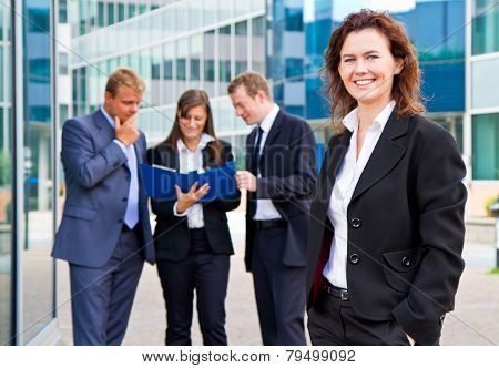 Group Of Business People With Businesswoman Leader On Foreground