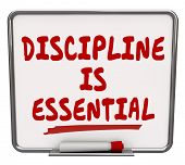 picture of discipline  - Discipline is Essential words on a dry erase board to communicate the importance of being committed to a job or task and exercising restraint and control to achieve the goal - JPG