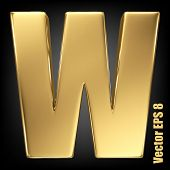 pic of solids  - Vector letter W from gold solid alphabet - JPG
