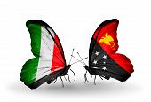 foto of papua new guinea  - Two butterflies with flags on wings as symbol of relations Italy and Papua New Guinea - JPG