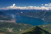 stock photo of lagos  - Lago Maggiore as seen from Monte Lema Switzerland  - JPG