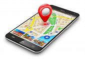 stock photo of gps navigation  - Modern black glossy touchscreen smartphone or mobile phone with wireless navigator map service internet application on screen and red destination pointer marker icon isolated on white background - JPG