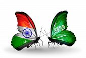 pic of saudi arabia  - Two butterflies with flags on wings as symbol of relations India and Saudi Arabia - JPG
