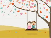 stock photo of corazon  - Cute happy kids swinging on hearts decorated tree for Happy Valentine - JPG