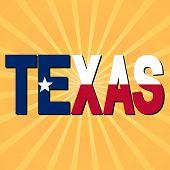 image of texas flag  - Texas flag text with sunburst illustration - JPG
