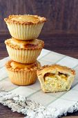 foto of fill  - Savory mini pies with cheese and vegetable filling - JPG
