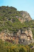 foto of dalyan  - Famous old Dalyan Tombs on the riverside of Dolyan river in Turkey - JPG