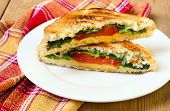 stock photo of tomato sandwich  - Toasted sandwich with cheese tomato and salad - JPG