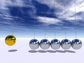 foto of newton  - Concept or conceptual 3D metal silver and gold creative sphere Newton cradle pendulum over a sky background - JPG