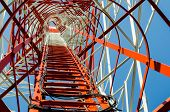 stock photo of antenna  - height staircase mobile antenna tower in sky - JPG