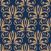 image of tendril  - Light brown flourish motif in seamless pattern with ornately decorated densely packed flowers - JPG