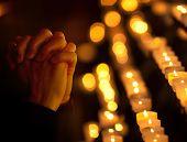 stock photo of church  - Woman praying in church - JPG