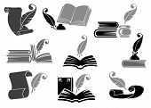 stock photo of inkwells  - Literary set of gray and black open books feathers inkwells and parchments icons for historical poetic and education design - JPG