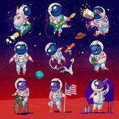 Постер, плакат: Set Of Cute Astronauts In Space